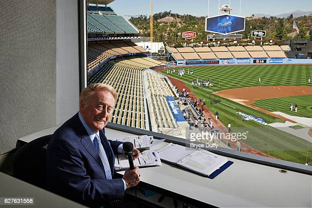 Sportscaster Vin Scully is photographed for People Magazine on October 15, 2013 in his booth at Dodgers Stadium in Los Angeles, California.