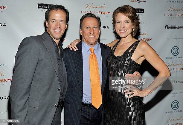 Sportscasters Dan Hicks Bruce Beck and Hannah Storm attend the Hannah Storm Foundation celebrity fundraiser at Stone Rose Lounge on September 27 2011...