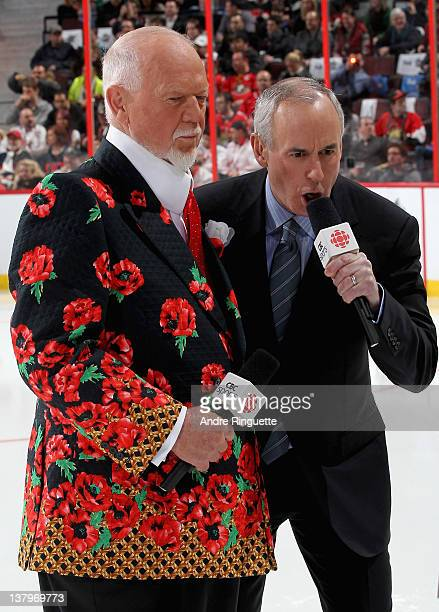 CBC sportscasters Don Cherry and Ron MacLean cover the 2012 Tim Hortons NHL AllStar Game at Scotiabank Place on January 29 2012 in Ottawa Ontario...