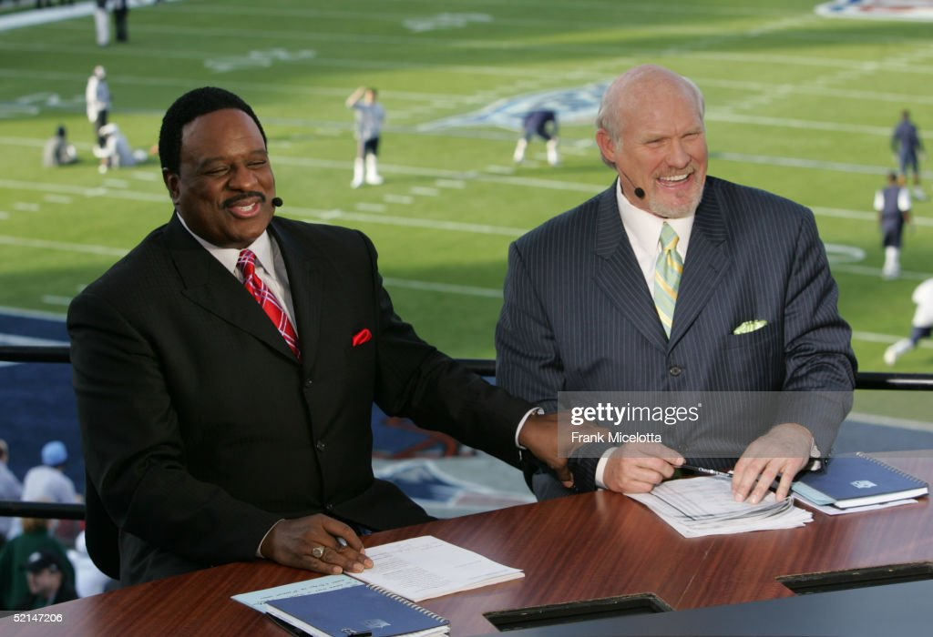 Fox Sportscasters James Brown And Terry Bradshaw Speak In The Broadcast Booth During Xix