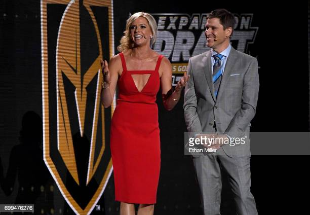 Sportscasters Kathryn Tappen and Daren Millard speak during the 2017 NHL Awards and Expansion Draft at T-Mobile Arena on June 21, 2017 in Las Vegas,...