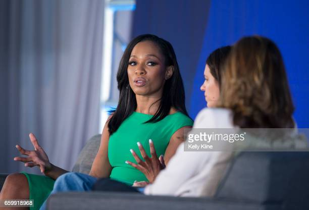 SportsCenter anchor Cari Champion and Olympic softball player and ESPN analyst Jessica Mendoza are interviewed by former US Women's Soccer player and...