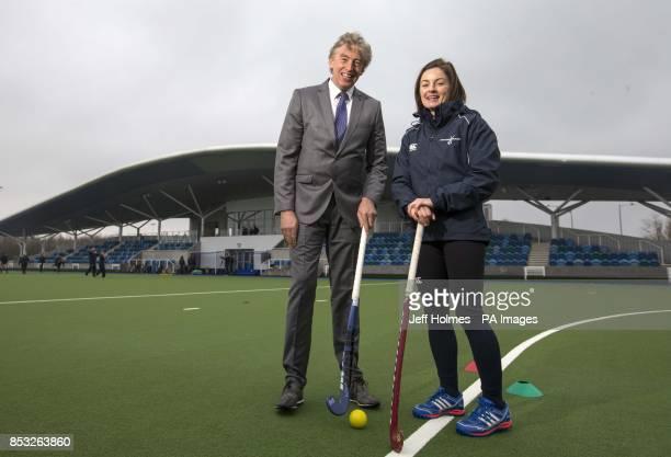 sportscotlandacircs Director of High Performance Mike Whittingham and Captain of the womens hockey team Linda Clement during a photocall at the...