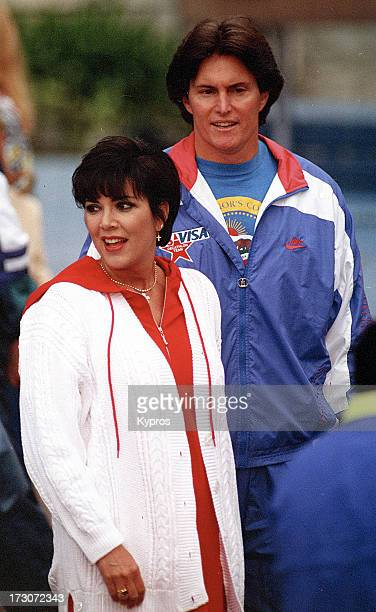 Sportsman Bruce Jenner with his wife Kris Jenner, circa 1990.
