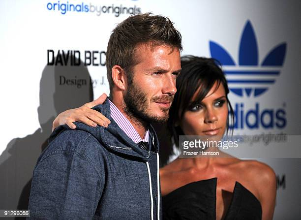 Sportsman David Beckham and Victoria Beckham attend the adidas Originals By Originals David Beckham By James Bond Collection Launch on September 30...