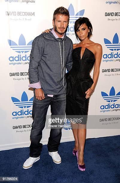 Sportsman David Beckham and Victoria Beckham attend the adidas Originals By Originals David Beckham By James Bond Collection Launch on September 30...
