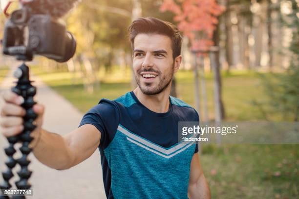 Sportsman doing a vlog