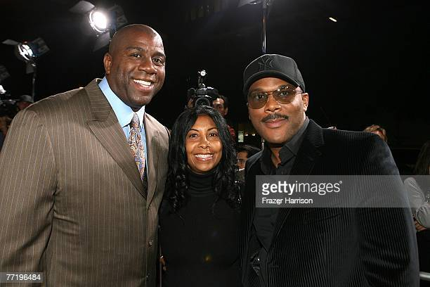 Sportsman Earvin Magic Johnson wife Cookie and actor and director Tyler Perry at Lionsgate's Premiere Of Why Did I Get Married held at the The...