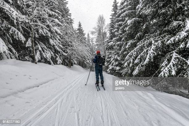 sportsman in snowy winter landscape on cross-country-ski