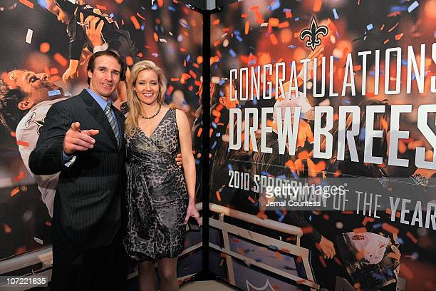 Sportsman of the Year Drew Brees of the New Orleans Saints and Brittany Brees attend the 2010 Sports Illustrated Sportsman of the Year Celebration at...