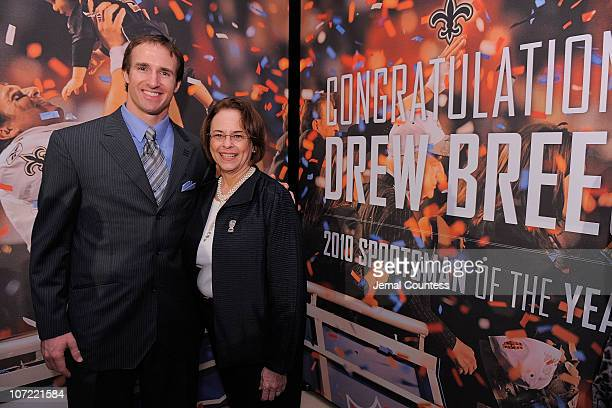 Sportsman of the Year Drew Brees poses with Time Inc CEO Ann Moore during the 2010 Sports Illustrated Sportsman of the Year Celebration at IAC...
