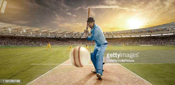 a sportsman playing cricket in the stadium as viewers cheer on - cricket player stock pictures, royalty-free photos & images