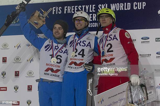 Sportsmen from the USA Jonathon Lillis runnerup Mac Bohonnon won first place and the Russian sportsman Ilya Burov who took third place during the...