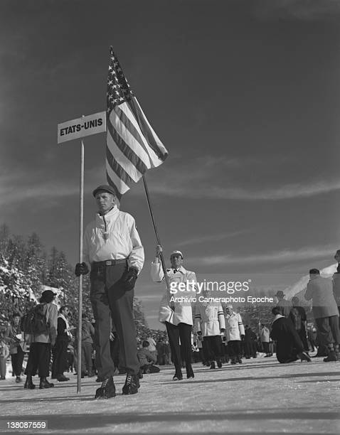 Sportsmen fron the UnitedStates parading in a line at the Olympic Games in St Moritz 1950s