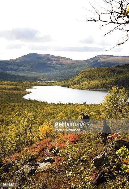 Sportsmen in a mountain scenery Sweden.