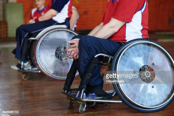 sportsmen in wheelchairs waiting for match - cliqueimages ストックフォトと画像