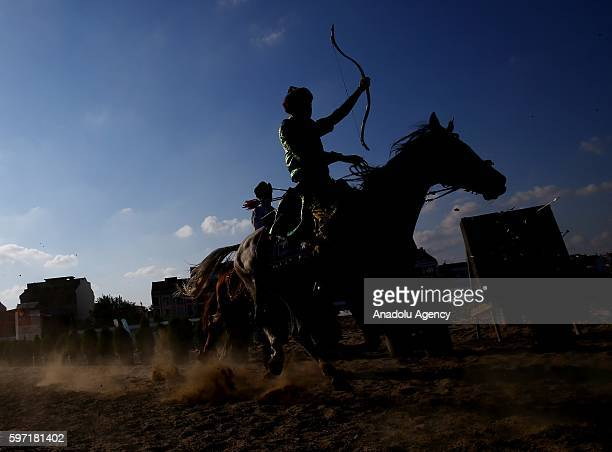 Sportsmen make demonstrations in javelin and mounted archery branches during the 2nd day of Ethnic Sports Cultural Festival organized by World...