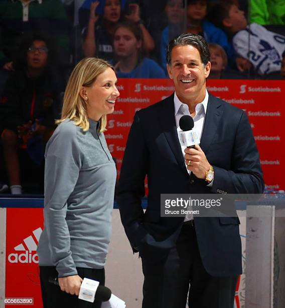 Sportsnet Host Evanka Osmak and Brendan Shanahan President of the Toronto Maple Leafs have a laugh speaking to the students during the World Cup of...