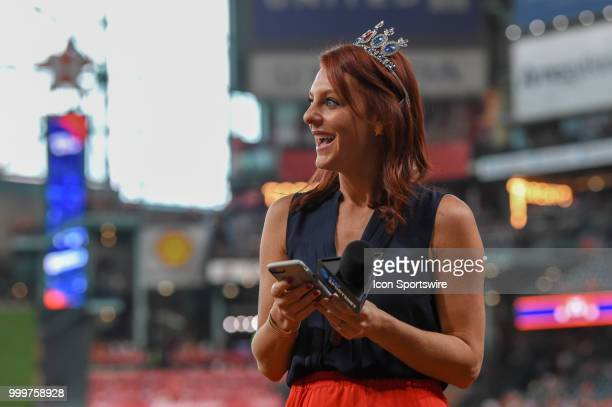 SportsNet Southwest Astros sideline reporter Julia Morales sports some jewels for Princess Day before the baseball game between the Detroit Tigers...