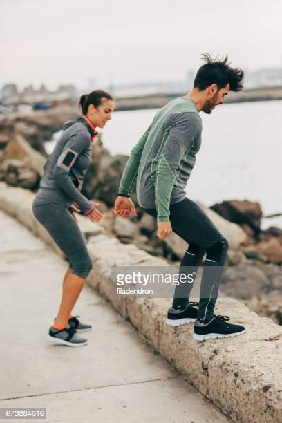 Sportler, die Bewegung in der Natur