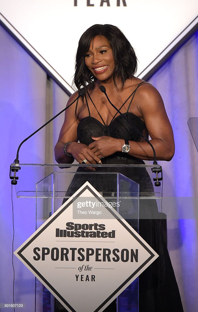 Sportsperson of the Year Serena Williams speaks on stage during Sports Illustrated Sportsperson of the Year Ceremony 2015 at Pier 60 on December 15, 2015 in New York City.