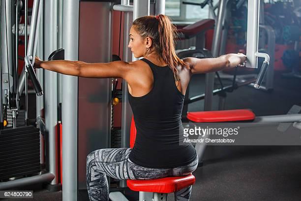 Sportswoman doing training exercises