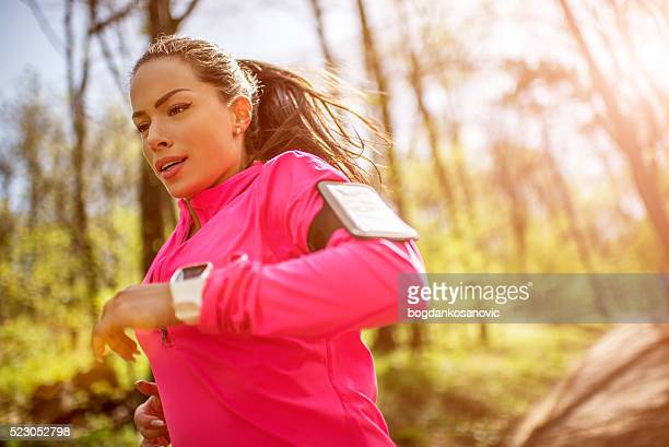 Sportswoman during jogging in the morning