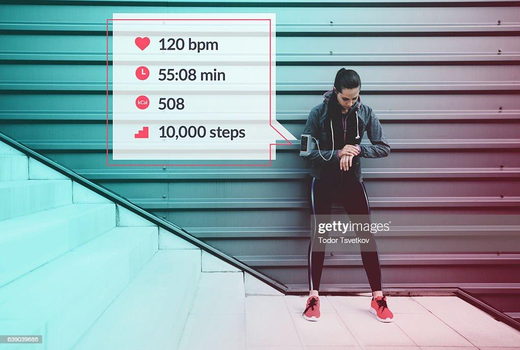 Sportswoman infographic : Stock Photo
