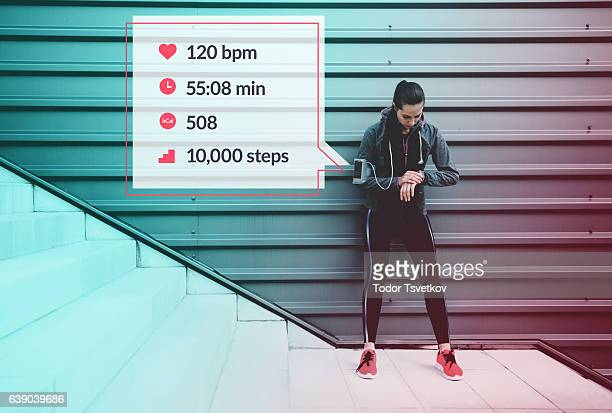 sportswoman infographic - following moving activity stock pictures, royalty-free photos & images