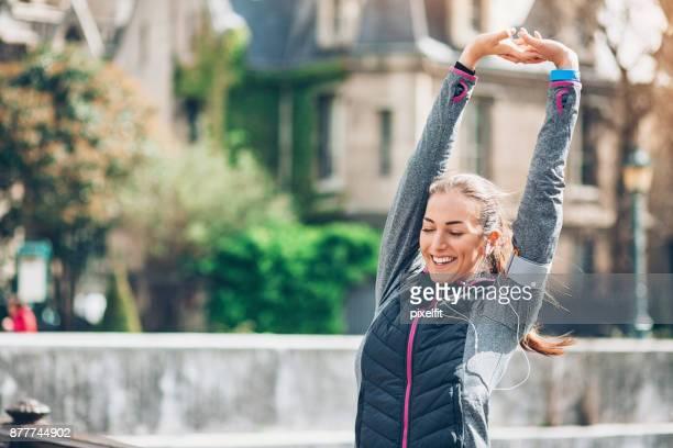 Sportswoman warming up