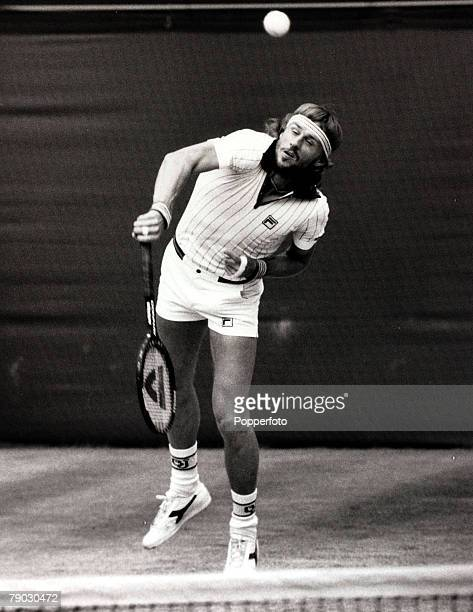 Sport/Tennis All England Lawn Tennis Championships Wimbledon London England 4th July 1981 Mens Singles Final Sweden's Bjorn Borg is pictured serving...