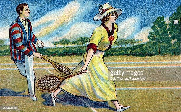 Sport/Tennis, circa 1910, Colour illustration, A card of Spanish origin shows a man and woman in a mixed doubles pairing