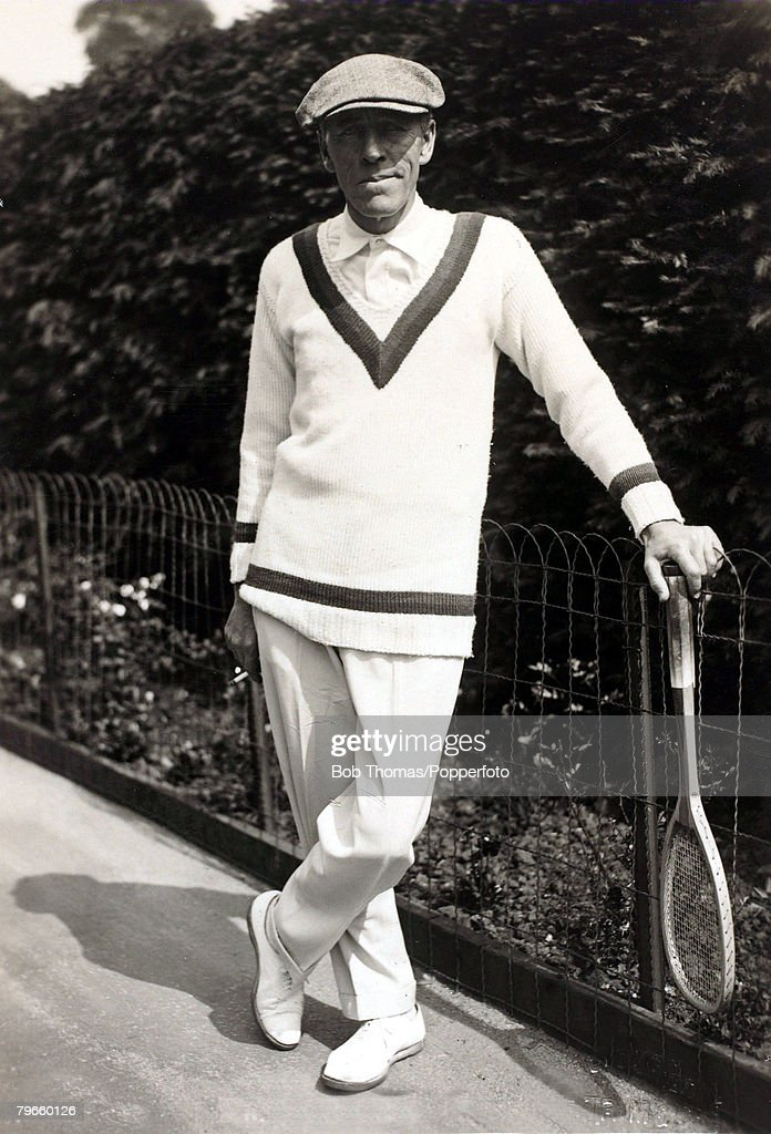 Sport/Tennis, circa 1920's, Norman Brookes, Australia, the first overseas winner of the Wimbledon Mens Singles title in 1907 which he won again in 1914 when he next competed, He was decorated for services in World War I with the French Legion of Honor : News Photo