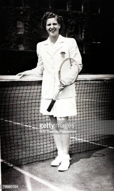 Sport/Tennis, circa 1950, Margaret Du Pont, U,S,A, who won 4 consecutive U,S,Open Mixed Doubles Championships partnering Bill Talbert and was the...