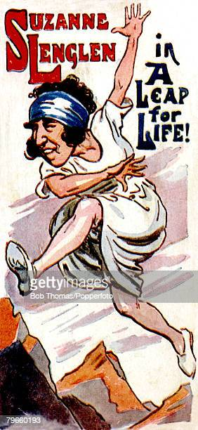 Sport/Tennis, Colour illustration, circa 1920, An amusing image of French tennis star Suzanne Lenglen, who was the Wimbledon Ladies Singles Champion,...