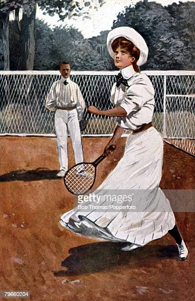 Sport/Tennis Colour postcard illustration circa 1905 A woman playing tennis in a long white flowing outfit of the era