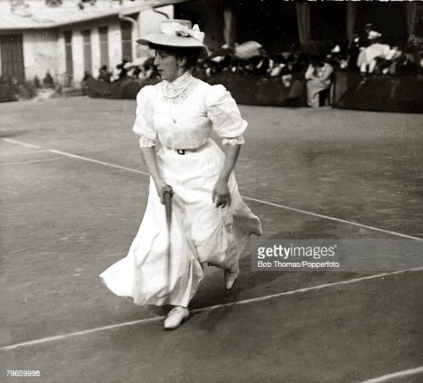 Sport/Tennis France A fine example of the Tennis fashions worn by the women competing in the tournaments in the South of France in 1906 This...