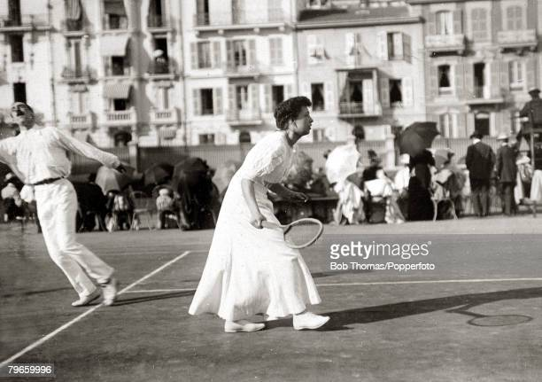 Sport/Tennis France Miss Madarasz seen playing in the South of France in a Mixed Doubles match This photograph is from an album covering tennis...