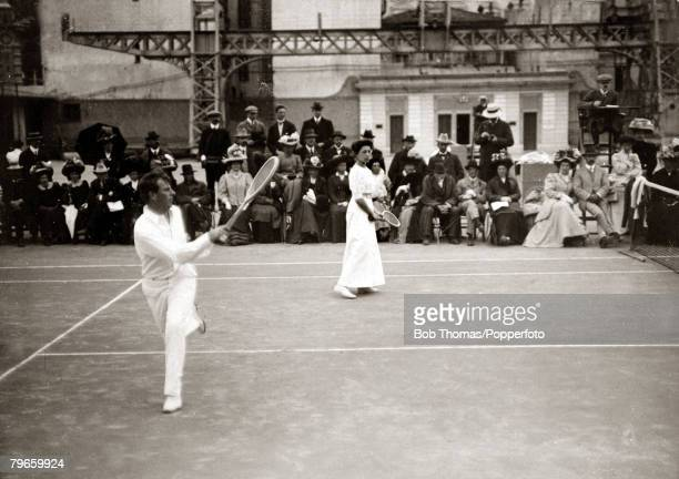 Sport/Tennis France New Zealand's Tony Wilding playing with Miss Madarasz in the Mixed Doubles in the South of France This photograph is from an...