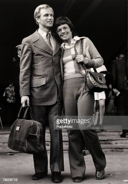Sport/Tennis London England 6th July 1972 USA's BillieJean King at Wimbledon with her husband She won 20 Wimbledon titles her first Singles success...