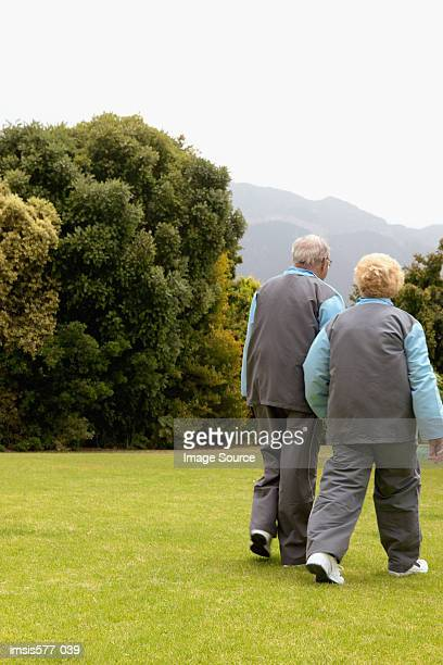 Sporty older couple outdoors