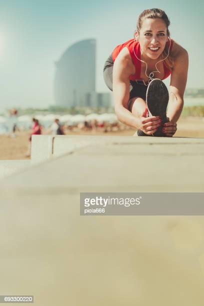 Mujer correr deporte y de formación independiente