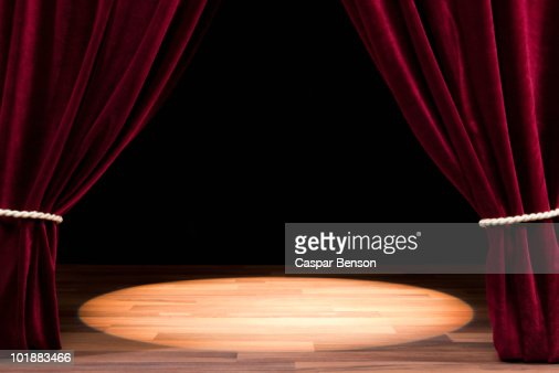 A Spot Lit Empty Theatre Stage Stock Photo