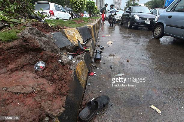 Spot where a car and bikes met with an accident at Linking Road Kandivali on August 2 2013 in Mumbai India Indian TV actress and model Sakshi Parikh...