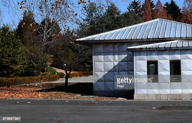 A spot where a North Korean defected crossing the border as South Korean Defense Minister Song Youngmoo visit on November 27 2017 in Panmunjom South...