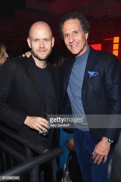 Spotify CEO and founder Daniel Ek and Daniel Glass attends 'Spotify's Best New Artist Party' at Skylight Clarkson on January 25 2018 in New York City