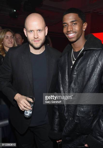 Spotify CEO Daniel Ek and Christian Casey Combs attend 'Spotify's Best New Artist Party' at Skylight Clarkson on January 25 2018 in New York City