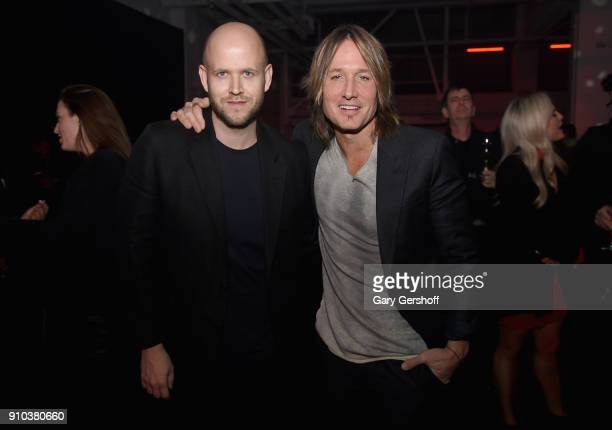 Spotify CEO Daniel Ek and Keith Urban attend 'Spotify's Best New Artist Party' at Skylight Clarkson on January 25 2018 in New York City