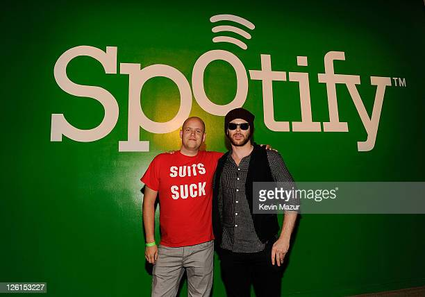 Spotify CEO Daniel Ek left and Entrepreneur Sean Parker pose at Sean Parker's Celebration of Music on September 22 2011 in San Francisco California