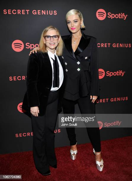 Spotify Chief Content Officer Dawn Ostroff and Bebe Rexha attend Spotify's Secret Genius Awards hosted by NEYO at The Theatre at Ace Hotel on...